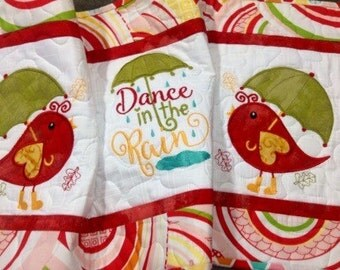 Quilted DANCE in the RAIN Table Runner . . . Awesome Colors . . . Applique Birds and Umbrellas . . . Embroidered  Center Design