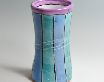 Vase with Hand Painted Stripes in Blue & Turquoise