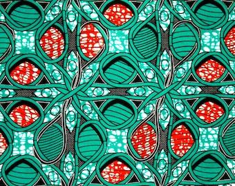 African Fabric 1/2 Yard Cotton Wax Print AQUA ORANGE Abstract