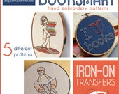Embroidery Patterns Iron On Transfer Booksmart patterns for hand embroidery, Back to School, Dorm Decor, DIY, Modern embroidery patterns