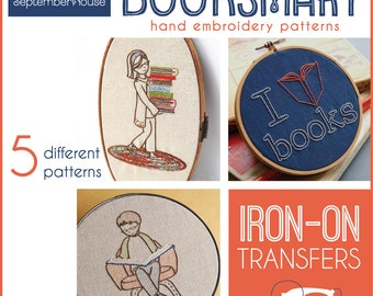 Iron On Embroidery Patterns Booksmart transfers for hand embroidery, Back to School, Dorm Decor, DIY, Modern embroidery patterns