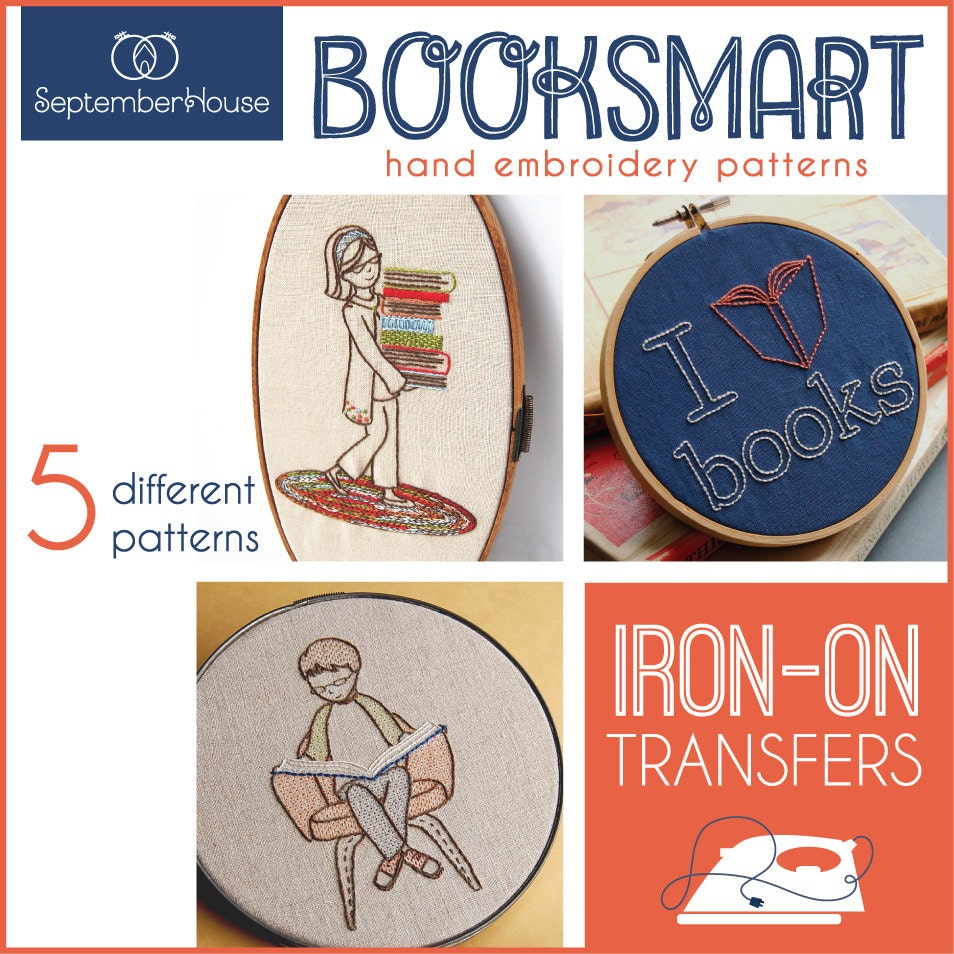Iron on embroidery patterns booksmart transfers for hand