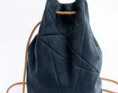 geometric backpack, vegan suede, darkblue, copper
