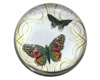 Beautiful Butterfly Round Glass Paperweight