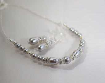 2 Pc Set - Swarovski Pearl and Crystal Bridal Necklace & Earrings - MADE TO ORDER in Any Color