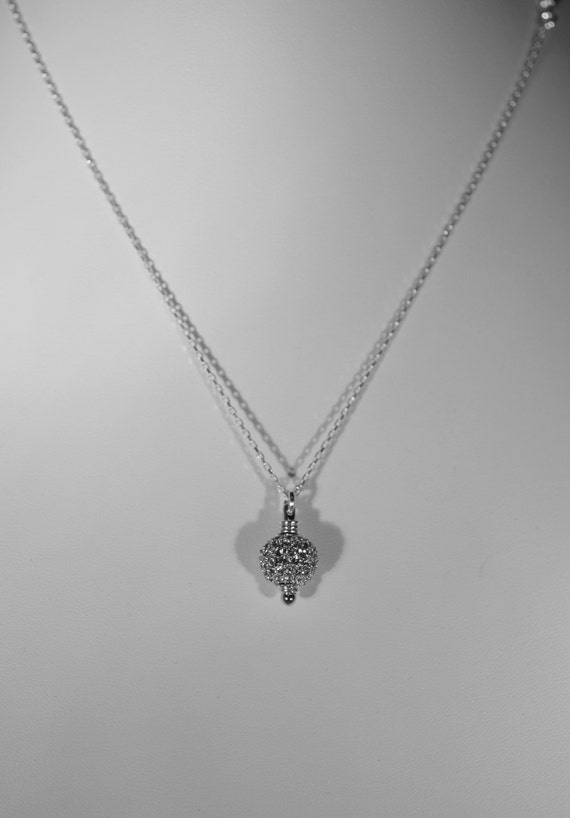 Bridal Jewelry - Shown with 10mm Pave Bead - Sterling Silver Chain
