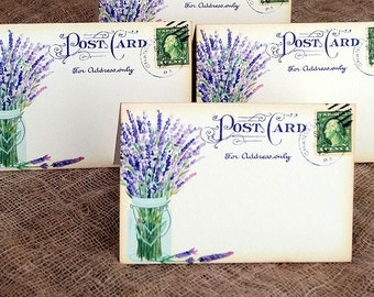 Wedding Place Cards Lavender In Mason Jar Postcard Tent Style Place Cards or Table Place Cards #180