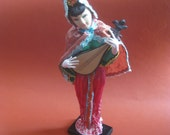 China Doll playing Lute on Stand Vintage