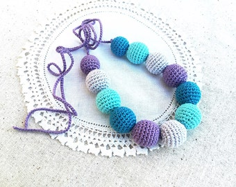 Teething necklace - Nursing necklace - Breastfeeding necklace - teal - turquoise - teething toy - babywearing - crochet teether - teether