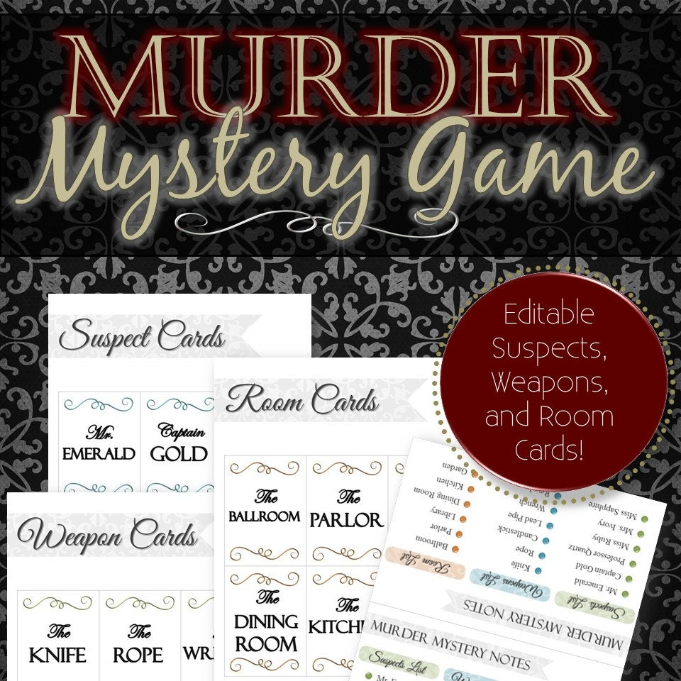 Murder Mystery Dinner Sheet Free: Editable Reusable Murder Mystery Game Clue Style INSTANT