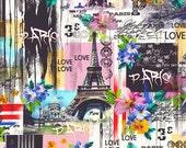 Vibrant Shower Curtain, Paris Shower Curtain, French Bathroom Decor, Eiffel Tower, Floral, Travel Theme Shower Curtain, Eclectic Home Decor
