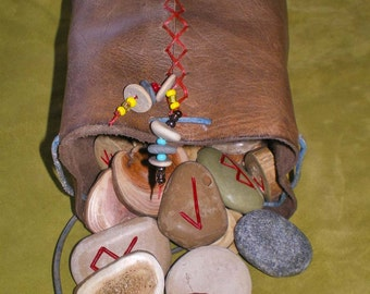 Bone Wood Stone Rune Set and Leather Casting Cup/Pouch