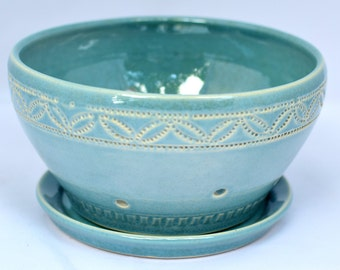 Berry Bowl in Robin's Egg Blue / Aqua - Ceramic Colander - Stoneware Pottery