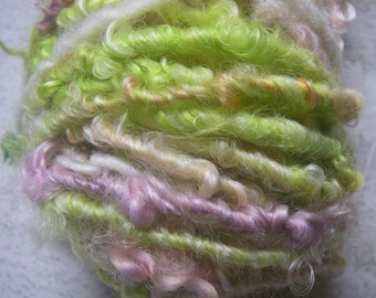 Handspun Curly Soft Gotland Lamb Locks in Pastel Lavender Green Apricot White by KnoxFarmFiber for Embellishment Knit Weave Crochet