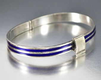 Sterling Silver Enamel Bracelet, Italian Bracelet, Silver Bangle Bracelet, Mid Century Modernist Bracelet, Vintage Stacking Bracelet,