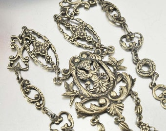 Antique Victorian Peruzzi Silver Necklace, Statement Italian Jewelry, Cherub Necklace, 1800s Antique Jewelry, Gothic Jewelry, Cini Coppini
