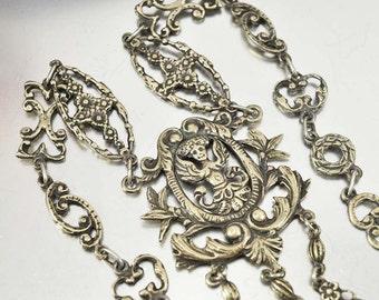 Antique Victorian Peruzzi Silver Necklace, Statement Italian Jewelry, Cherub Necklace, 1800s Antique Jewelry, Gothic Jewelry, Cini Coppini