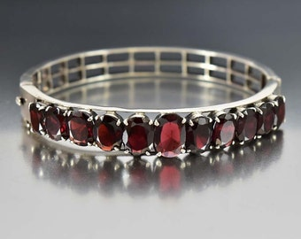 Art Deco Garnet Bracelet, Sterling Silver Cuff Bracelet, Silver Bangle Bracelet, Almandine Garnet Vintage Art Deco Jewelry, Antique Jewelry