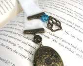 Bookmark Bronze Locket Dog Paw Charm on White Velvet Ribbon Aqua Blue Bead Book marks Free US Shipping