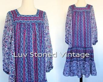70s Vintage Kaiser Pakistan Indian Cotton Tent Tunic Boho Hippie India Ethnic Festival Midi Mini Dress   XS-SM   1186.6.6.16