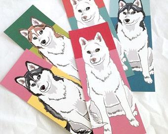 Husky Bookmarks - Eco-friendly Set of 5