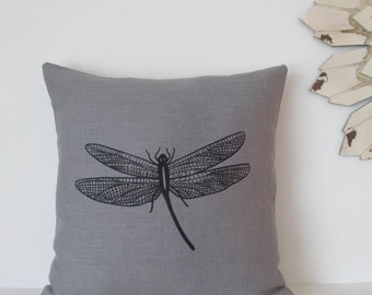 Pillow Cover - Cushion Cover - Dragonfly - 16 x 16  inches - Choose your fabric and ink color