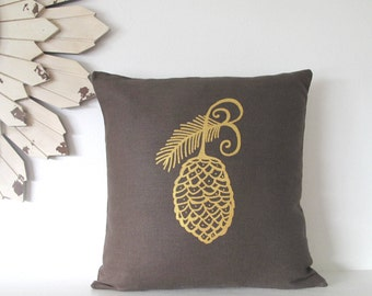 Pillow Cover -  Pine Cone Pillow - 16 x 16  inches - Choose your fabric and ink color - Accent Pillow