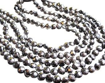 Pyrite Beads, Faceted Coin, Luxe AAA, Fools Gold, SKU 2862