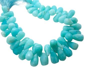 Peruvian Blue Opal Beads, Faceted Teardrops, Peruvian Opal Briolettes, Blue Opal Teardrop Briolette, Peruvian Opal Drops, SKU 4966