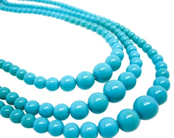 Czech Glass Beads, Turquoise Blue Czech Glass, Fire Polish Beads,  Graduated Round, SKU 4256A