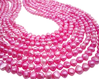 Pink Freshwater Pearls Beads, Pink Pearls, Potato Shape, 5mm x 7mm, SKU 4673