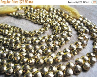 SALE Gold Pyrite Beads Briolettes, Luxe AAA, 6mm, Gold Gemstone, Brides, Bridal, SKU 2841