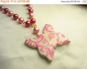 Butterfly necklace ... polymer clay butterfly pendant necklace with pink pearl chain ... Butterfly in flight