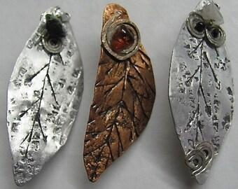 Copper and Silver Tin Leaf Pins. Copper leaf Brooch. Silver Tin Leaf Pins. ONSALE.