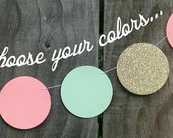 Peach, Mint Green and Gold Paper Circle Garland, Coral, Dot Garland, Wedding Decoration