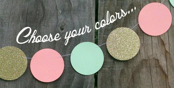 Peach mint green and gold paper circle garland coral dot for Gold dot garland