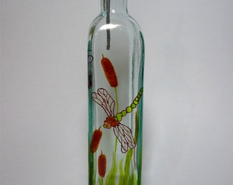 Olive oil bottle recycled glass hand painted dragonflies with cattails