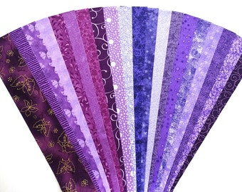 Fabric Purple Lilac Cotton Jelly Roll Quilting Strip Pack Material Die Cut 20 Strips No Dups (sku JR120-PURPbd)