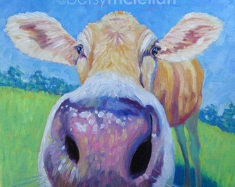 Cow - ORIGINAL Painting - 16x16 - Oil Painting