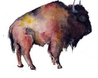 Buffalo print, bison print, bison painting, buffalo painting, watercolor buffalo, watercolor bison, wild buffalo, wild bison, bison farm