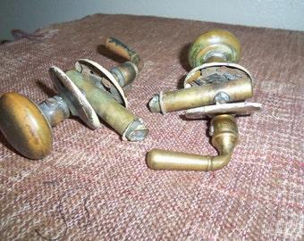 2 Complete Vintage Brass Door Knobs