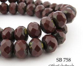 8mm Deep Mahogany Red  Faceted Rondelle Czech Glass Beads (SB 758) 12 pcs  BlueEchoBeads