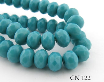 9mm Czech Rondelle Glass Beads, Opaque Turquoise, Faceted Rondelle (CN 122) 12pcs BlueEchoBeads
