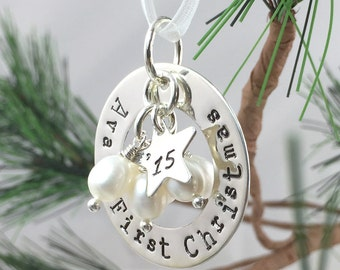 First Christmas hand stamped and personalized sterling silver ornament with freshwater pearls