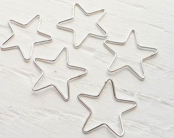 Open Star Charm Sterling Silver Pendant Wire Stars (LHS1113)