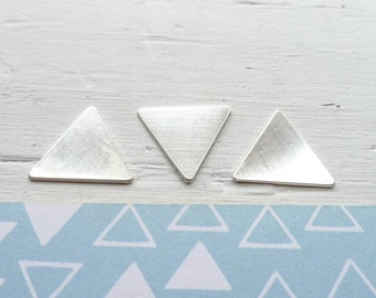 Large Triangle Blank Sterling Silver Geometric Charm For Hand Stamping Jewelry