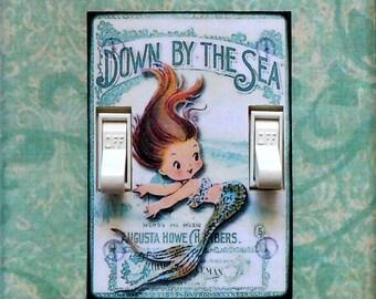 Vintage look Mermaid Switchplates w/ MATCHING SCREWS- Mermaid wall art mermaid decoration mermaid double mermaid wall decor merbaby merchild