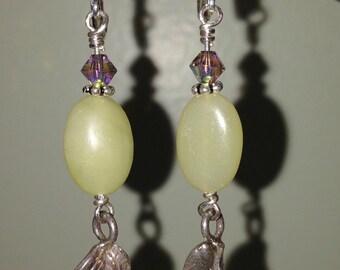 Sterling Silver Celadon Drop Leaf Earrings
