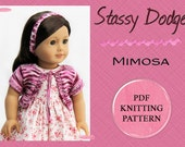 Mimosa Cardigan Top Doll Clothes Knitting Pattern for American Girl Dolls - Easy PDF Pattern