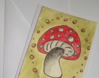 Original Watercolor card painting MushroomNature 5x7